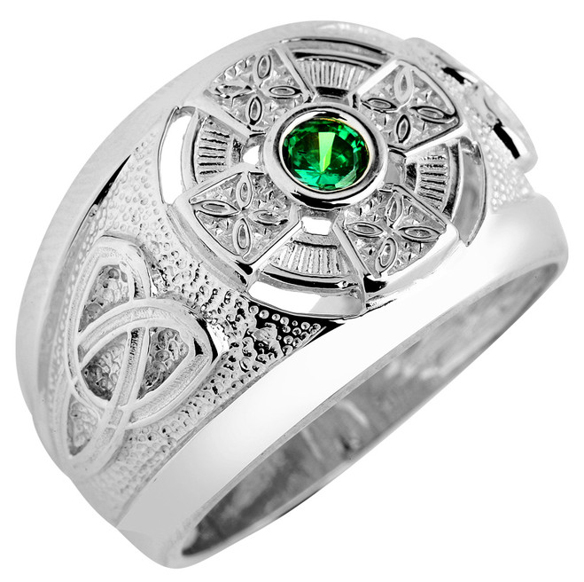 Men's Solid White Gold Celtic Birthstone Ring