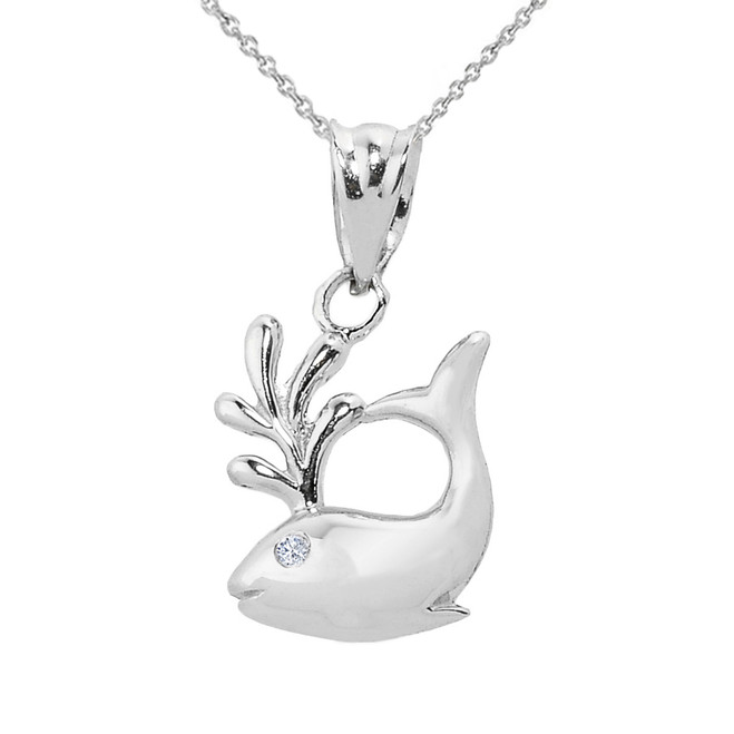 Fine Sterling Silver Diamond Whale Charm Pendant Necklace