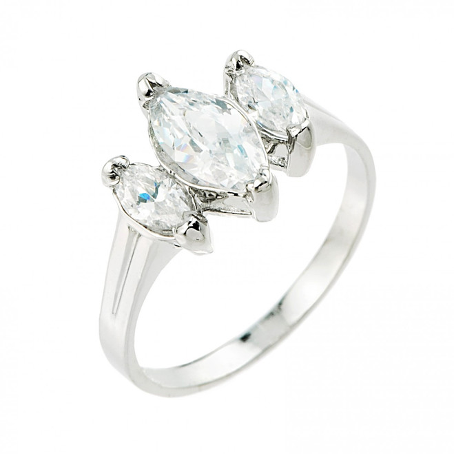 Sterling Silver 3 Stone Marquise CZ Engagement Ring