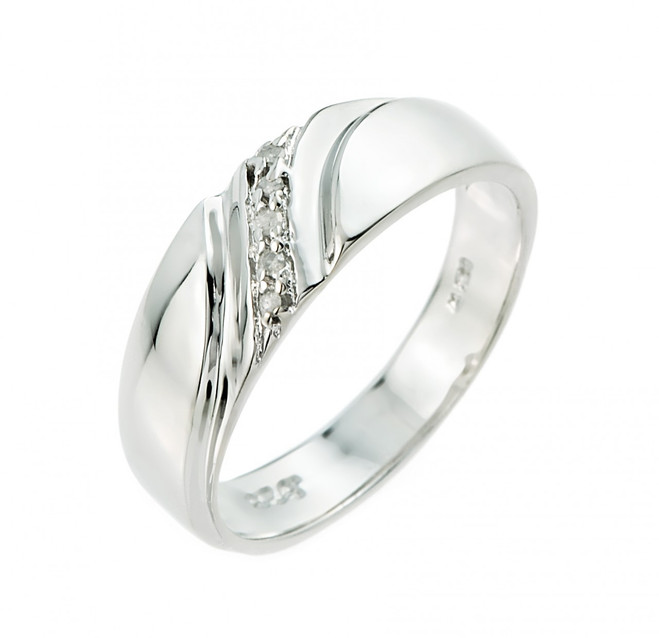 Sterling Silver Ladies Diamond Wedding Band