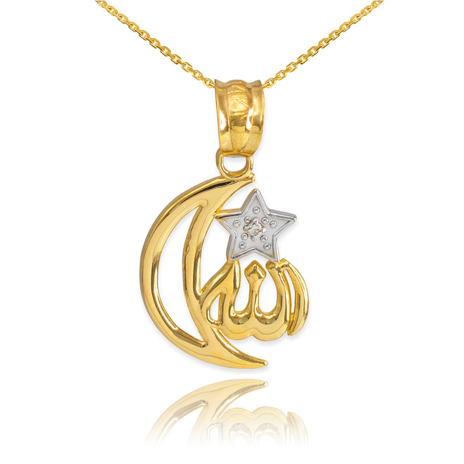 Gold Diamond Crescent Moon Allah Pendant Necklace
