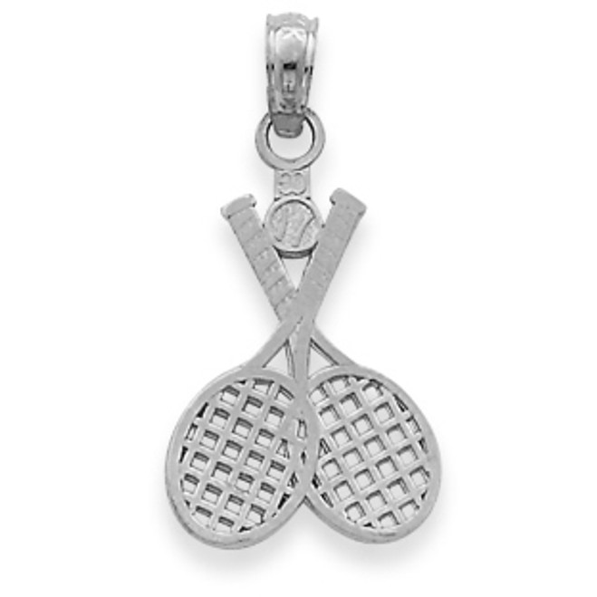 White Gold Tennis Rackets Charm