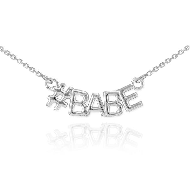 14k White Gold #BABE Necklace