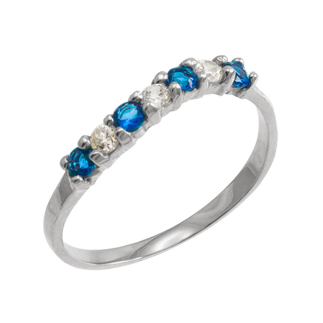 White Gold Wavy Stackable CZ Blue Topaz Ring
