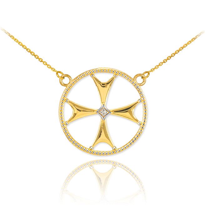 14k Gold Diamond Maltese Cross Necklace