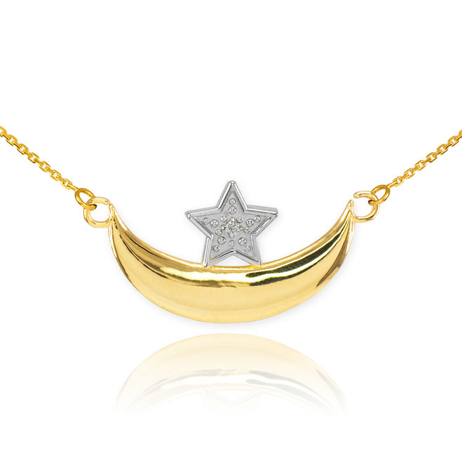 Islamic collection gold islamic collection yellow gold islamic 14k gold diamond crescent moon and star islamic necklace aloadofball Images