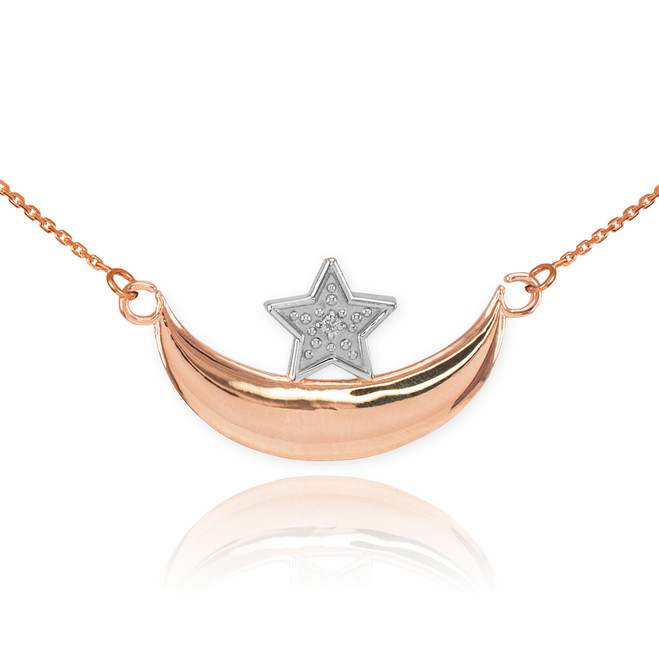 14k Rose Gold Diamond Crescent Moon and Star Islamic Necklace