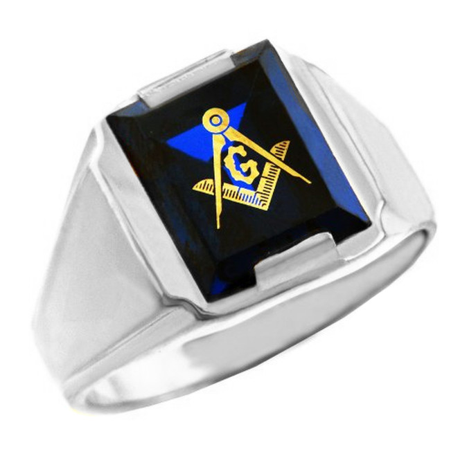 White Gold Freemason Blue Stone Square and Compass Masonic Mens Ring
