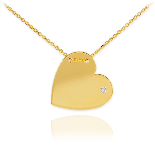 14K Gold Diamond Engravable Heart Necklace