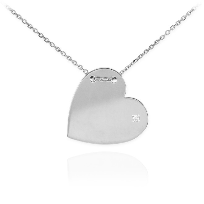 14K White Gold Diamond Engravable Heart Necklace