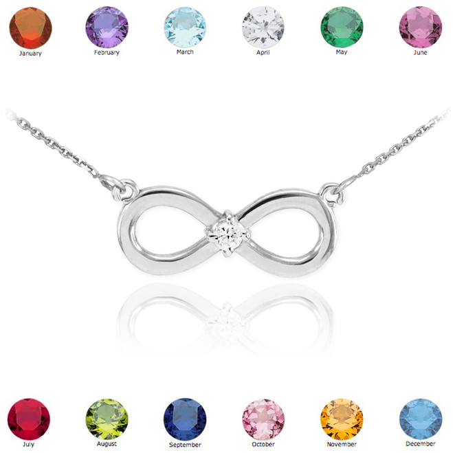 14K White Gold Infinity CZ Birthstone Necklace