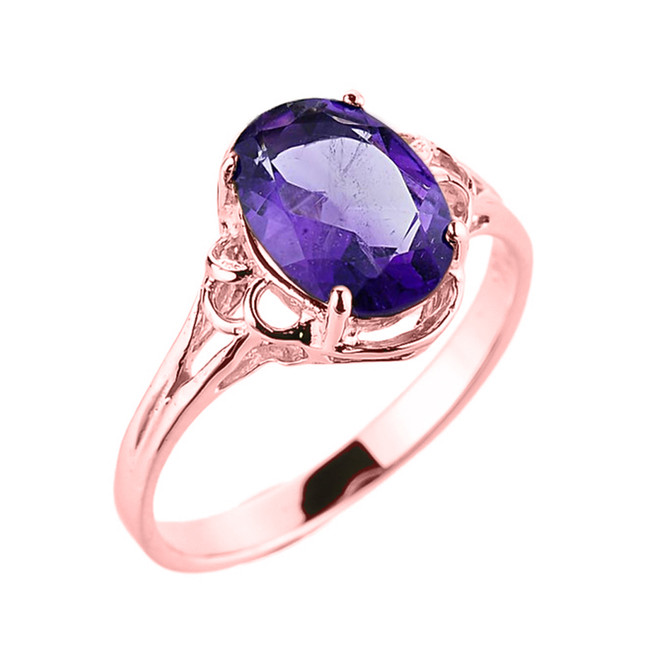 Rose Gold Genuine Amethyst Gemstone Ring
