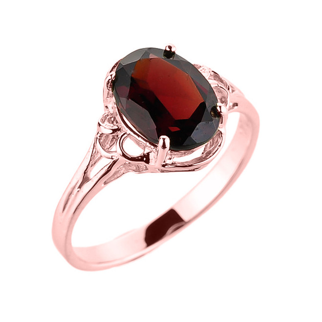 Rose Gold Ladies Genuine Garnet Gemstone Ring