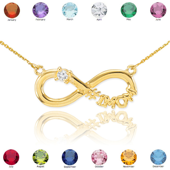 14K Gold Infinity #1MOM CZ Birthstone Necklace