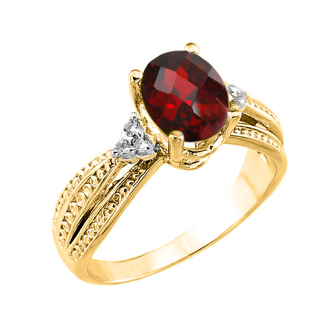 Yellow Gold Checkerboard Cut Genuine Garnet and Diamond Proposal Ring