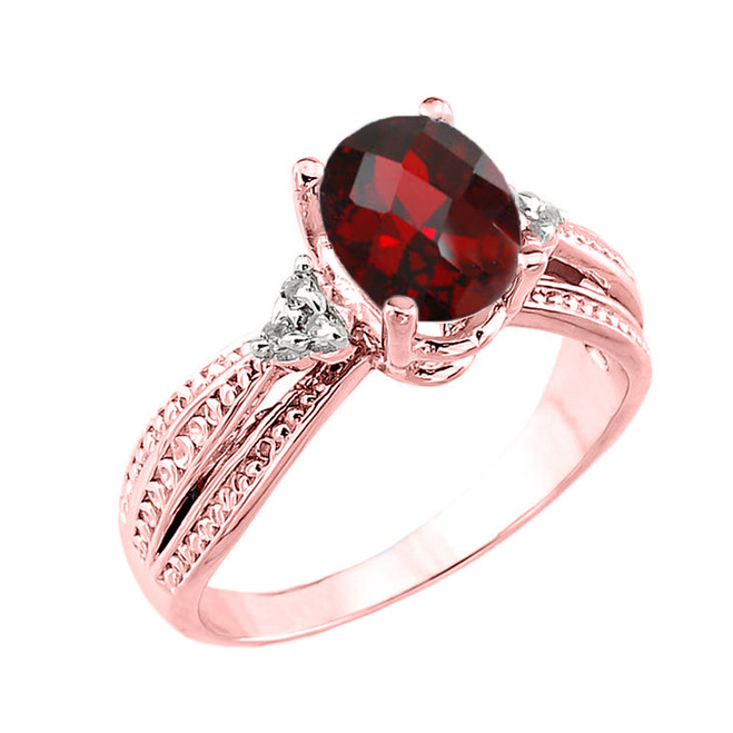Rose Gold Checkerboard Cut Genuine Garnet and Diamond Proposal Ring