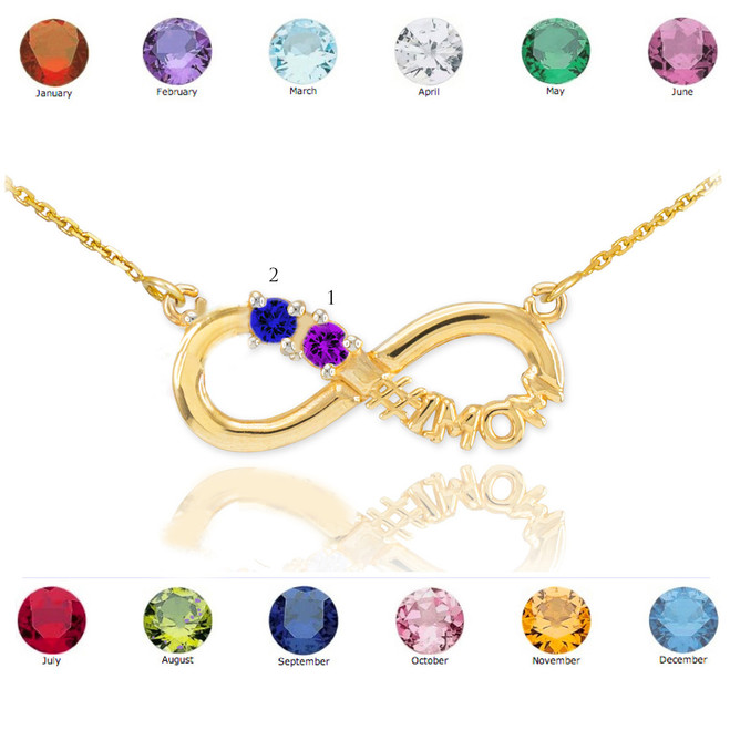 14K Gold Infinity #1MOM Necklace with Two CZ Birthstones