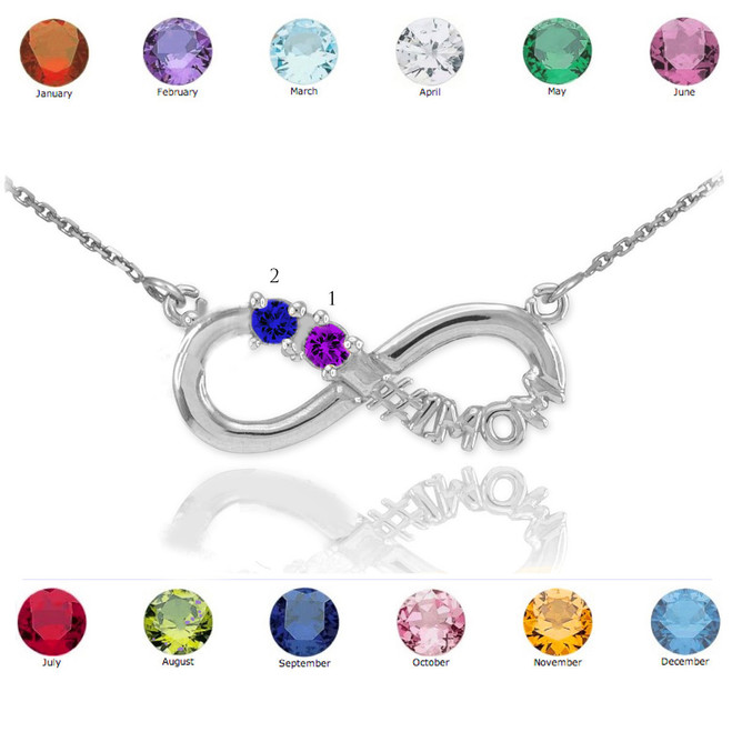 14K White Gold Infinity #1MOM Necklace with Two CZ Birthstones