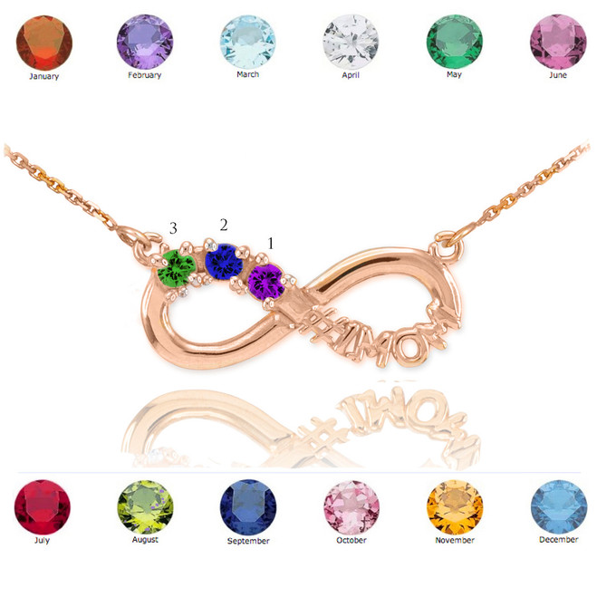 14K Rose Gold Infinity #1MOM Necklace with Three CZ Birthstones