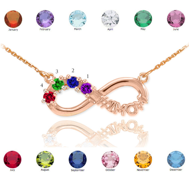 14K Rose Gold Infinity #1MOM Necklace with Four CZ Birthstones