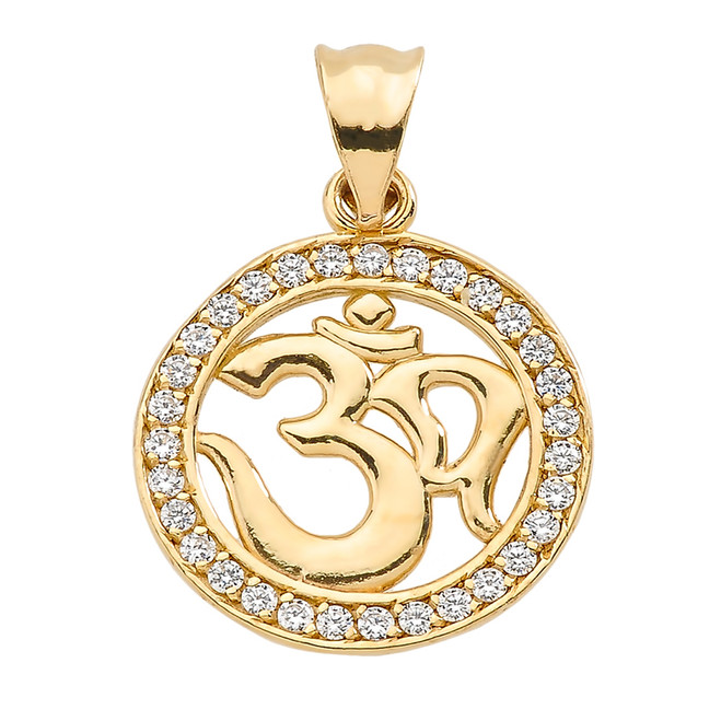 Yellow Gold CZ Studded Om/Ohm Pendant
