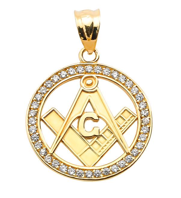 Yellow Gold Diamonds Studded Freemason Masonic Pendant