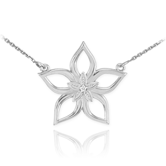 14k White Gold Diamond Star Flower Necklace