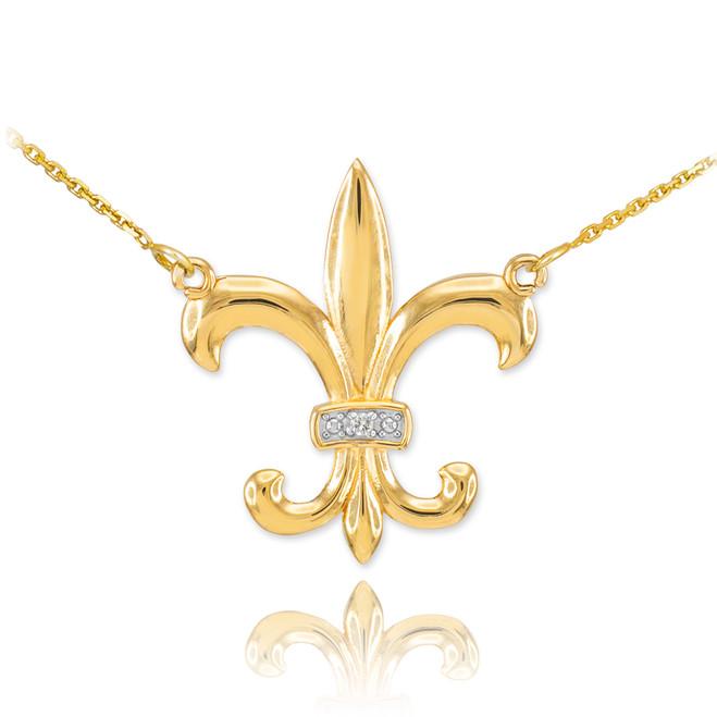 Fleur de lis 14k gold diamond fleur de lis necklace aloadofball Images