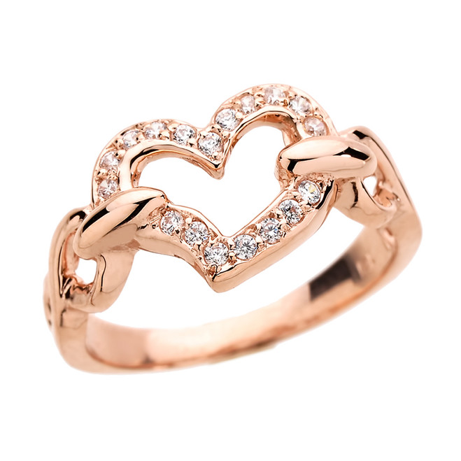 Rose Gold Diamonds Studded Infinity Heart Love Ring