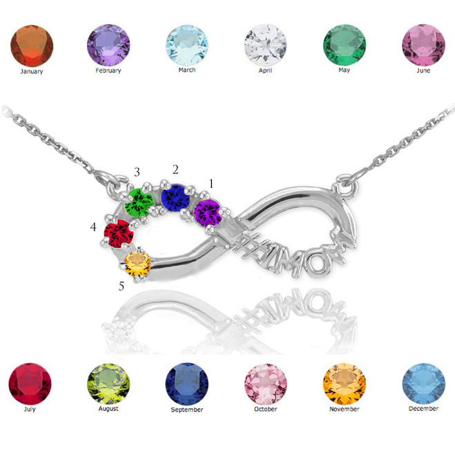 Sterling Silver Infinity #1MOM Necklace with Five CZ Birthstones