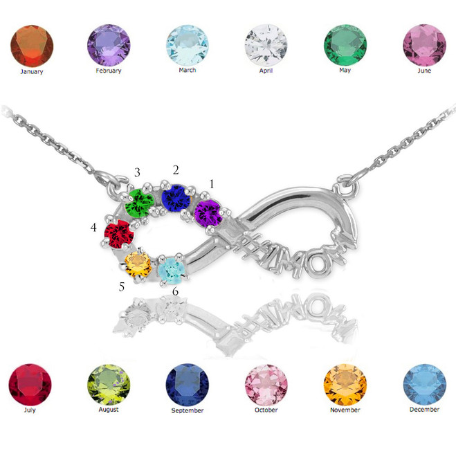 Sterling Silver Infinity #1MOM Necklace with Six CZ Birthstones