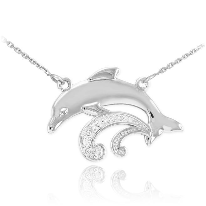 14k White Gold Diamond Dolphin Necklace
