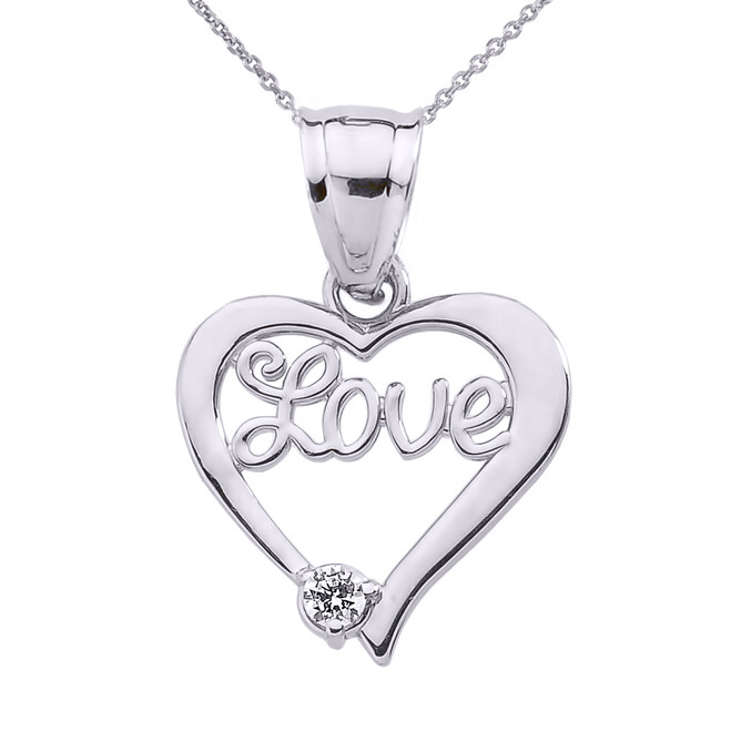 "White Gold ""Love"" Script Diamond Heart Pendant Necklace"