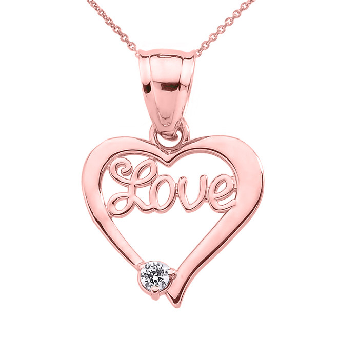 "Rose Gold ""Love"" Script Diamond Heart Pendant Necklace"