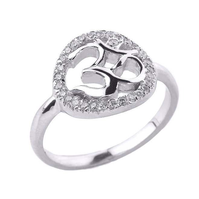 White Gold Diamonds Studded Om/Ohm Ring