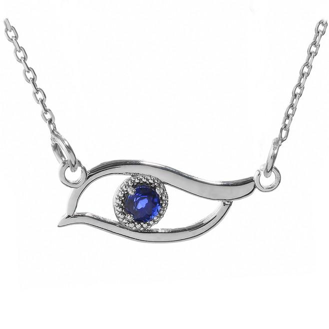 White Gold CZ Sapphire Evil Eye Pendant Necklace