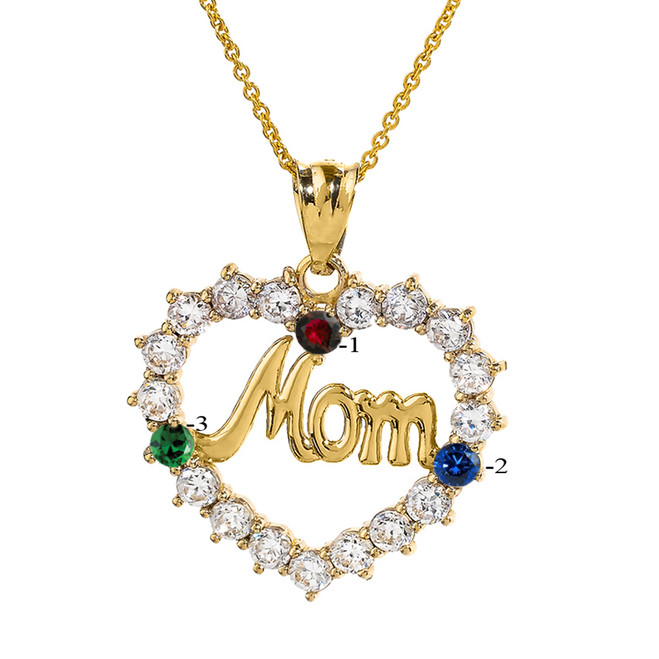 "Yellow Gold ""MOM"" Open Heart Pendant Necklace with Three CZ Birthstones"