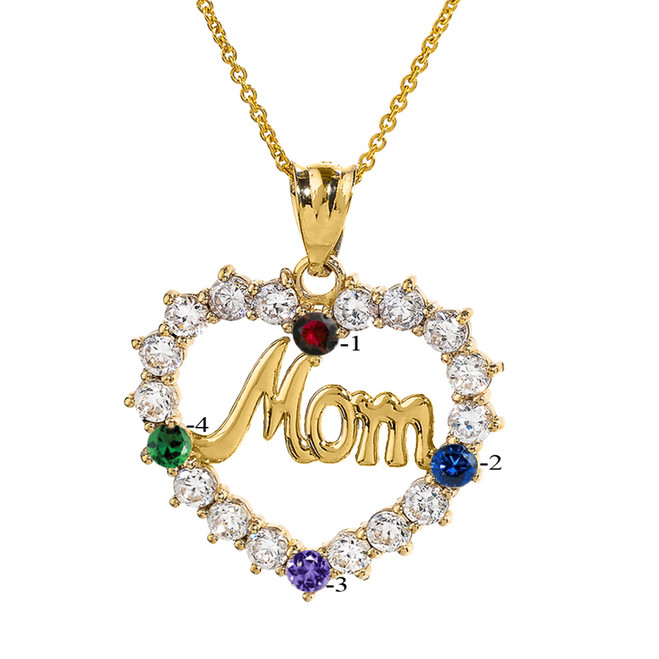 Infinity rope october birthstone opal rose gold pendant necklace yellow gold mom open heart pendant necklace with four cz birthstones aloadofball Images