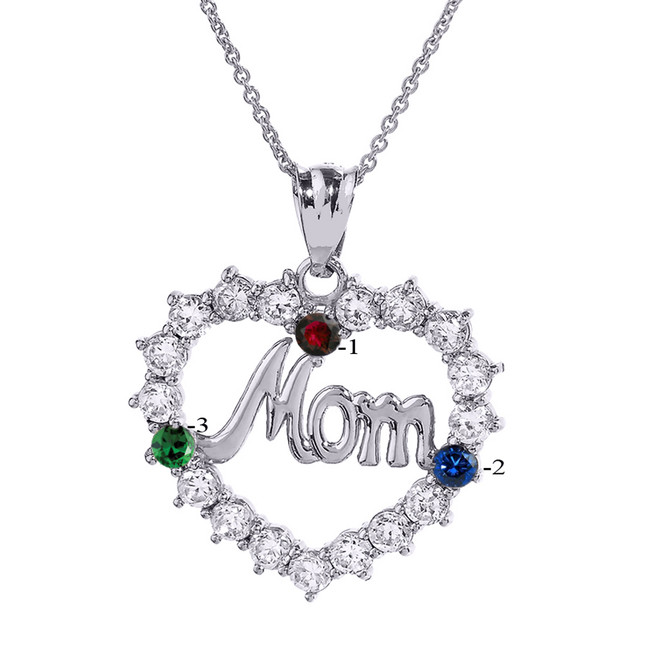 "White Gold ""MOM"" Open Heart Pendant Necklace with Three CZ Birthstones"