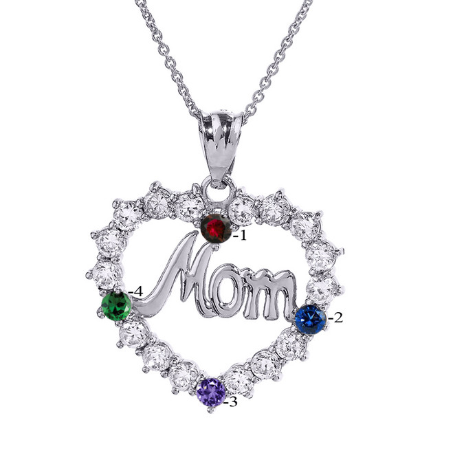"White Gold ""MOM"" Open Heart Pendant Necklace with Four CZ Birthstones"