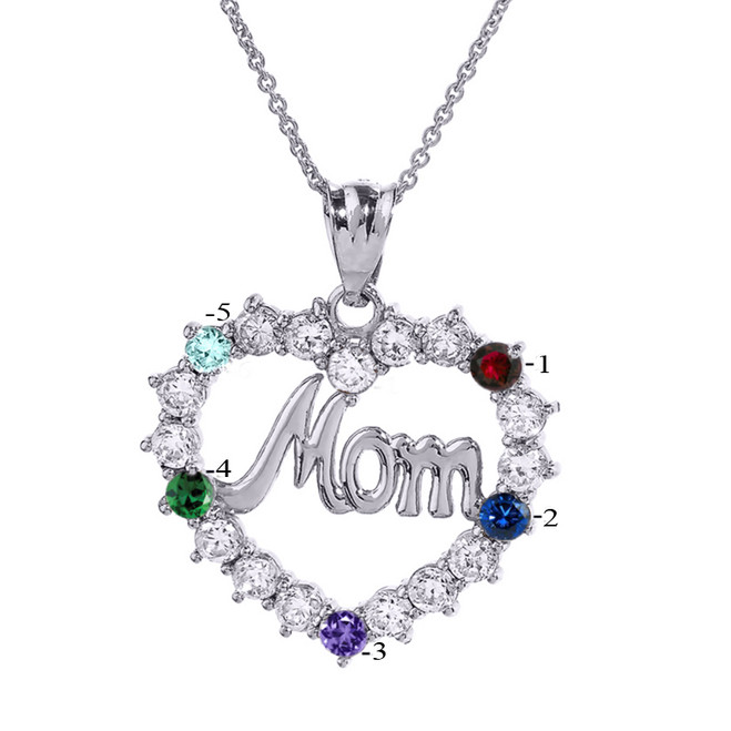 "White Gold ""MOM"" Open Heart Pendant Necklace with Five CZ Birthstones"