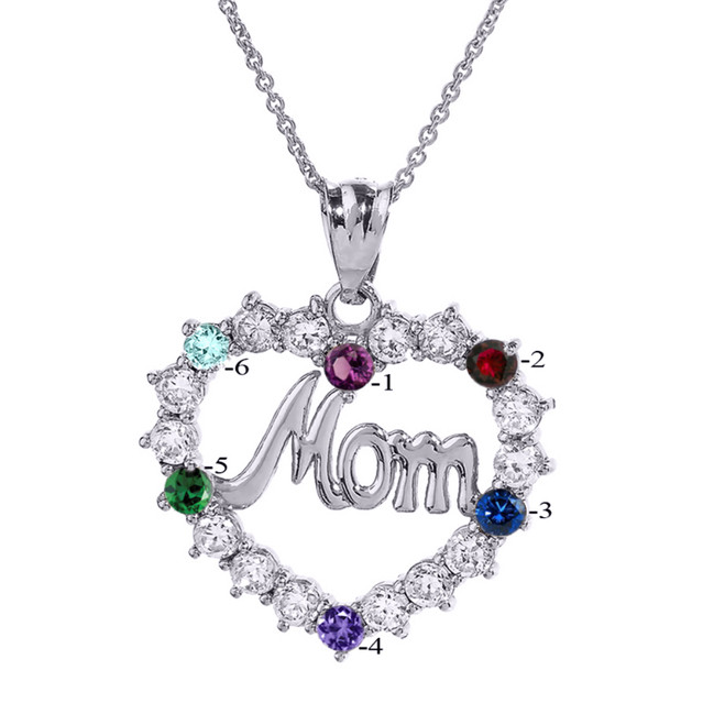 "White Gold ""MOM"" Open Heart Pendant Necklace with Six CZ Birthstones"