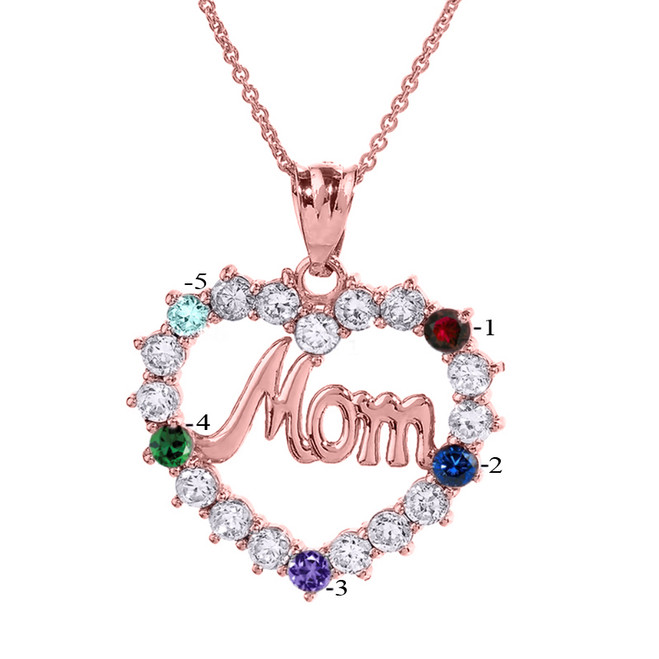 Infinity rope october birthstone opal rose gold pendant necklace rose gold mom open heart pendant necklace with five cz birthstones aloadofball Images