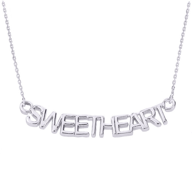 "14K White Gold  ""SWEETHEART"" Pendant Necklace"