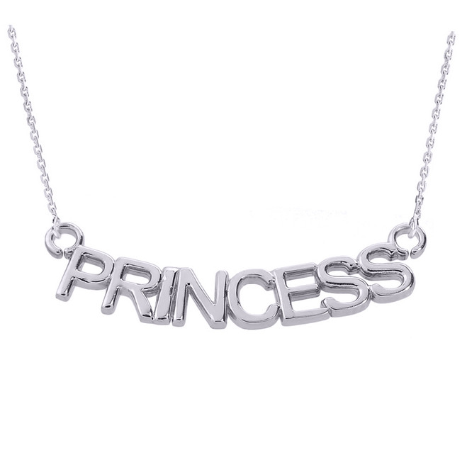 "Sterling Silver  ""PRINCESS"" Pendant Necklace"