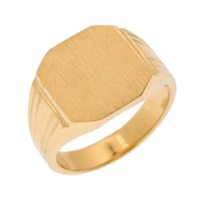 Yellow Gold Octagon Cut Engravable Men's Signet Ring