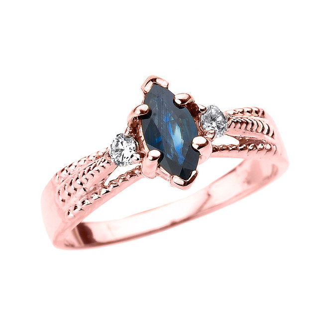 Rose Gold Genuine Blue Sapphire and Diamond Proposal Ring