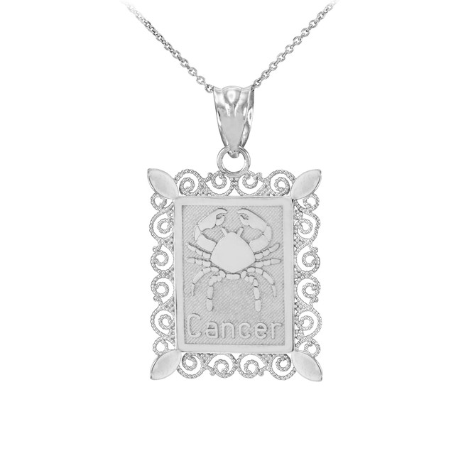 White Gold Cancer Zodiac Sign Filigree Pendant Necklace