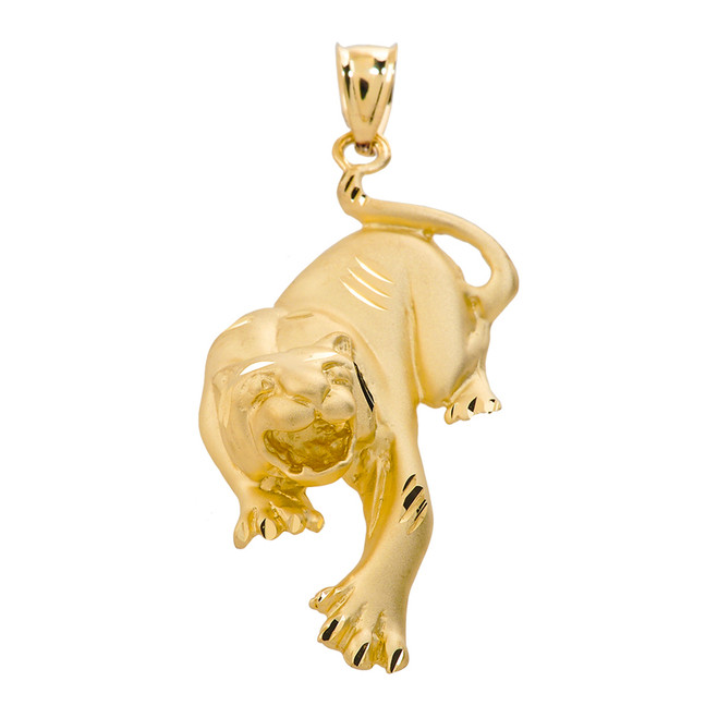 Solid Yellow Gold Diamond Cut Matte Finish Tiger Pendant