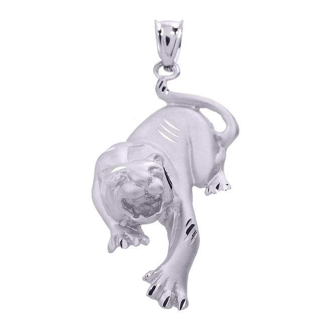 Solid White Gold Diamond Cut Matte Finish Tiger Pendant